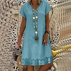 Women's A-Line Dress Knee Length Dress - Short Sleeve Solid Color Patchwork Summer V Neck Casual Loose 2020 Yellow Blushing Pink Khaki Light Blue S M L XL XXL