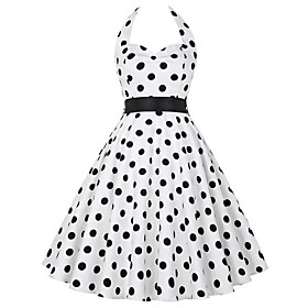 Women's A-Line Dress Short Mini Dress - Sleeveless Polka Dot Print Print Summer V Neck Casual Cotton Slim 2020 White Black S M L XL XXL 3XL
