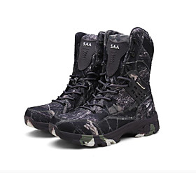 Men's Boots Sporty Athletic Daily Hiking Shoes / Walking Shoes Polyester Waterproof Non-slipping Wear Proof Brown / Gray Camouflage Fall / Winter
