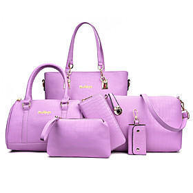 Women's Bags PU Leather Bag Set 6 Pieces Purse Set Zipper for Daily / Holiday Black / Blue / Purple / Light Gray / Bag Sets