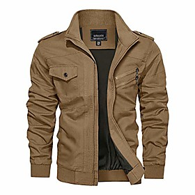 men's jacket-cotton lightweight military casual bomber windbreaker coat(khaki,m)