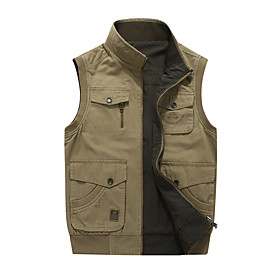 Men's Vest Regular Solid Colored Daily Basic Army Green Khaki M L XL