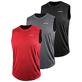 men's 3 pack muscle workout tank top for gym running,5042,black,grey,red,3xl