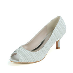 Women's Wedding Shoes Kitten Heel Peep Toe Classic Wedding Party  Evening Solid Colored Satin White / Champagne / Royal Blue