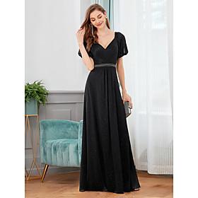 Women's A-Line Dress Maxi long Dress - Short Sleeve Solid Color Spring Fall V Neck Formal Elegant Party Loose 2020 Black S M L XL XXL 3XL 4XL