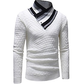 Men's Basic Knitted Striped Pullover Long Sleeve Sweater Cardigans Tied Neck Fall Winter White Black Gray