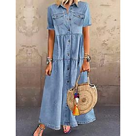 Women's Denim Shirt Dress Maxi long Dress - Short Sleeve Summer Casual Hot vacation dresses 100% Cotton 2020 Light Blue S M L XL XXL 3XL
