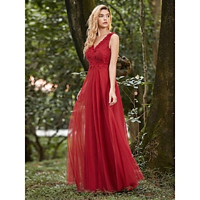 Women's A-Line Dress Maxi long Dress - Sleeveless Solid Color Lace Spring Fall V Neck Formal Elegant Party Loose 2020 Red S M L XL XXL 3XL 4XL
