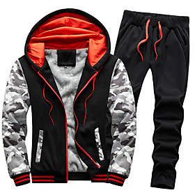 Men's 2-Piece Full Zip Tracksuit Sweatsuit Casual Long Sleeve 2pcs Fleece Thermal Warm Breathable Soft Running Jogging Sportswear Plus Size Outfit Set Clothing