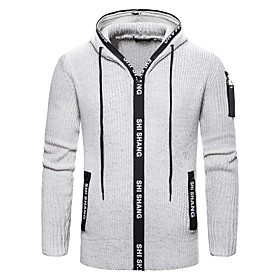 Men's Basic Knitted Solid Color Pullover Long Sleeve Sweater Cardigans Hooded Fall Winter Black Light gray