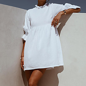 Women's A-Line Dress Short Mini Dress - 3/4 Length Sleeve Solid Color Spring Fall Casual Chiffon 2020 White S M L XL XXL