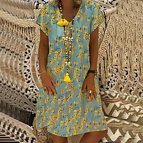 Women's A-Line Dress Knee Length Dress - Short Sleeve Print Patchwork Print Summer V Neck Casual Loose 2020 Red Yellow S M L XL XXL 3XL 4XL 5XL