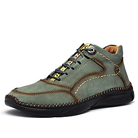 Men's Boots Casual Daily Outdoor Walking Shoes Leather Wear Proof Booties / Ankle Boots Light Yellow / Wine / Black Fall / Winter