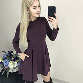 Women's A-Line Dress Short Mini Dress - Long Sleeve Solid Color Ruched Patchwork Fall Casual Slim 2020 Black Purple Red S M L XL XXL