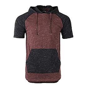 men's color block short sleeve pullover pocket hiphop thin hoodie shirt maroon/black