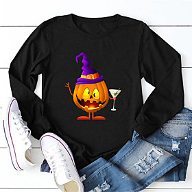 Women's Halloween T-shirt Graphic Prints Pumpkin Long Sleeve Print Round Neck Tops 100% Cotton Basic Halloween Basic Top Black Yellow Army Green