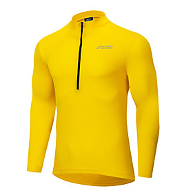 Men's Long Sleeve Cycling Jersey Polyester White Black Yellow Solid Color Bike Jersey Top Mountain Bike MTB Road Bike Cycling Breathable Quick Dry Anatomic Des