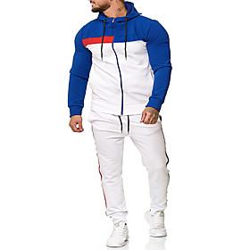 Men's Activewear Set Color Block Hooded Casual Hoodies Sweatshirts  Long Sleeve Black Blue