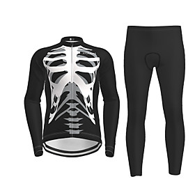 Men's Long Sleeve Cycling Jersey with Tights Black Novelty Skull Bike Breathable Quick Dry Moisture Wicking Sports Novelty Mountain Bike MTB Road Bike Cycling