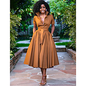 Women's A-Line Dress Midi Dress - Half Sleeve Solid Color Button Summer Shirt Collar Casual Hot Holiday Loose 2020 Army Green Orange S M L XL