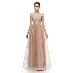 A-Line Elegant Sexy Prom Formal Evening Dress Off Shoulder Short Sleeve Floor Length Tulle with Beading Appliques 2020