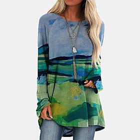 Women's T-shirt Tie Dye Long Sleeve Print Round Neck Tops Loose Basic Basic Top White Black Blue