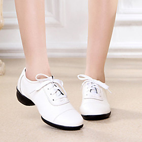 Women's Dance Shoes Latin Shoes / Modern Shoes / Ballroom Shoes Heel Thick Heel White / Black / Red / Performance