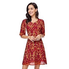 Women's A-Line Dress Short Mini Dress - Half Sleeve Print Patchwork Zipper Print Fall Casual Elegant Slim 2020 Black Blue Red S M L XL XXL
