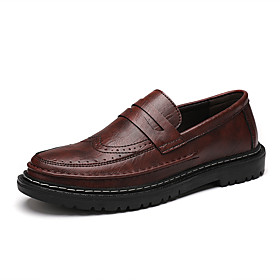 Men's Loafers  Slip-Ons Business / Classic / Casual Daily Office  Career Nappa Leather Breathable Non-slipping Wear Proof Black / Burgundy / Gray Spring / Fall