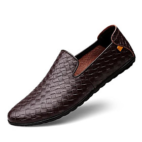 Men's Loafers  Slip-Ons Casual Daily Leather Non-slipping Black / Blue / Brown Spring / Fall