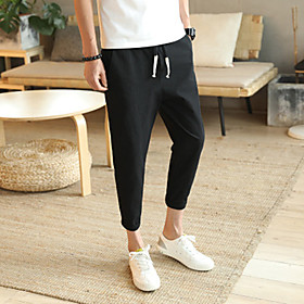 Men's Basic Daily Harem Pants Solid Colored Outdoor White Black Red M L XL