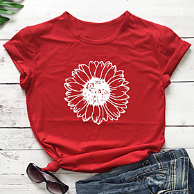 Women's T-shirt Floral Flower Sunflower Round Neck Tops 100% Cotton Basic Basic Top Navy ArmyGreen White