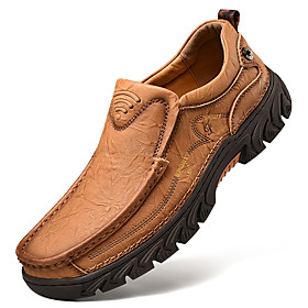 Men's Loafers  Slip-Ons Casual Daily Outdoor Walking Shoes Leather Wear Proof Light Brown / Dark Brown / Black Spring / Fall