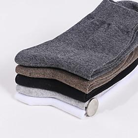 Men's Warm Socks - Solid Colored White Light gray Dark Gray One-Size