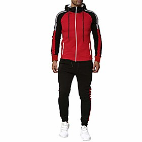 men sport suit gradient sweatsuit zipper hoodies outfit contrast jogging full tracksuit (xl, x - red -1)