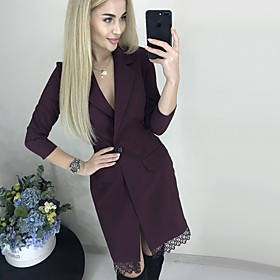 Women's A-Line Dress Knee Length Dress - 3/4 Length Sleeve Solid Color Lace Patchwork Spring Summer Shirt Collar Casual Slim 2020 Black Wine S M L XL XXL