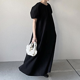Women's A-Line Dress Maxi long Dress - Short Sleeve Solid Color Print Summer Casual Loose 2020 Black One-Size
