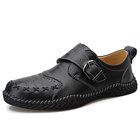 Men's Loafers  Slip-Ons Casual Daily Outdoor Walking Shoes Leather Wear Proof Dark Brown / Black Spring / Fall
