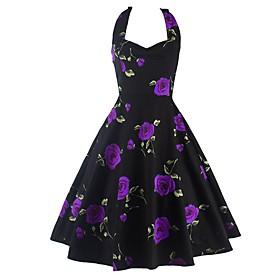 Women's A-Line Dress Knee Length Dress - Sleeveless Floral Print Summer Halter Neck Casual Sexy Party 2020 Blue Purple Red S M L XL XXL