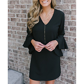 Women's Shift Dress Short Mini Dress - Long Sleeve Solid Color Ruffle Patchwork Spring Fall V Neck Casual Going out Flare Cuff Sleeve Slim 2020 Black S M L XL