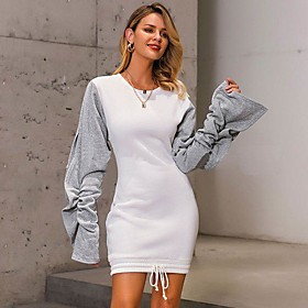 Women's Sheath Dress Short Mini Dress - Long Sleeve Color Block Patchwork Fall Casual Slim 2020 White S M L