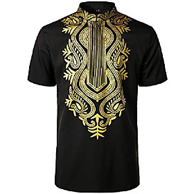 men's african traditional printed dashiki luxury hidden button short sleeve shirt black small