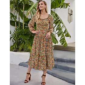 Women's Swing Dress Midi Dress - Long Sleeve Floral Print Fall Winter Square Neck Casual Boho Going out Lantern Sleeve 2020 Rainbow S M L XL