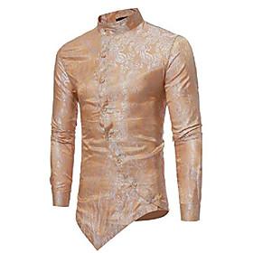 men's casual irregular hem slim fit button down dress shirt, hopm010-gold, large