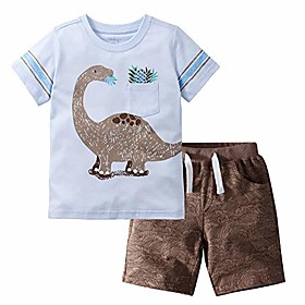 little boy short set summer cotton clothing set shorts set sky blue 5t Listing Date:09/08/2020