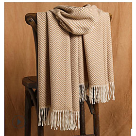 Women's Tassel / Active Rectangle Scarf - Striped Breathable