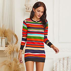 Women's Shift Dress Short Mini Dress - Long Sleeve Rainbow Print Fall Casual Slim 2020 Rainbow S M L XL XXL