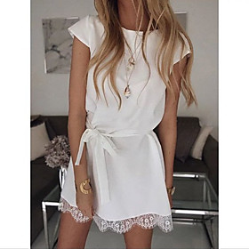 Women's Shift Dress Short Mini Dress - Short Sleeve Solid Color Lace Summer Casual Daily Loose 2020 White Black Khaki S M L XL XXL