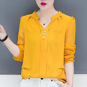 Women's Work Blouse Shirt Solid Colored Long Sleeve V Neck Tops Chiffon Streetwear Basic Top White Red Yellow