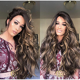 Synthetic Wig Body Wave Side Part Wig Long Very Long Light golden Synthetic Hair 65 inch Women's Party Highlighted / Balayage Hair Middle Part Blonde